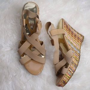 Charles by Charles David Camel Woven Sandal Wedges